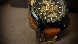 Uhrenarmand Leder Herren braun vintage cuff style