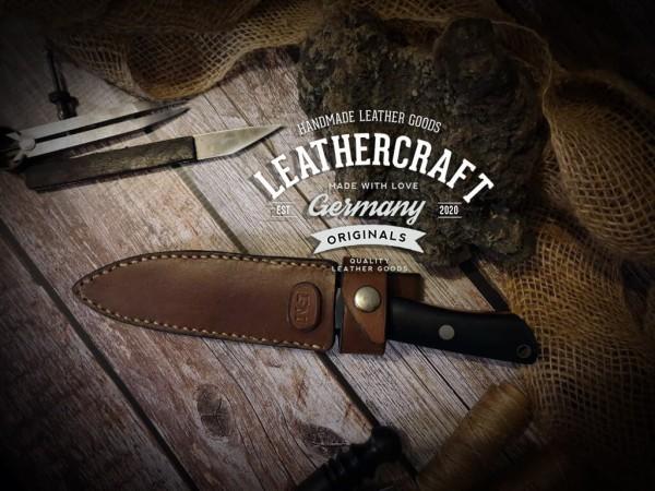handgemachte Messerscheide für selbstgeschmiedetes Messer