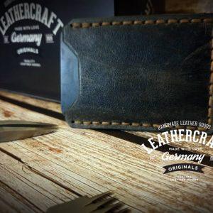 Leder Kreditkartenetui vintage grau