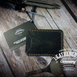 Leder Kreditkartenetui vintage braun grau