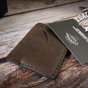 Leder Kreditkartenhalter minimalistisch braun vintage