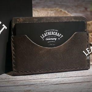 Leder Kreditkartenetui minimalistisch braun vintage