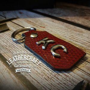 Schlüsselanhänger Leder Damen rot personalisiert