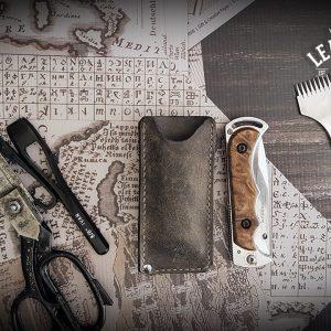Leder Messeretui Folding Knife