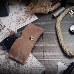 Leder Brillenetui - vintage style | Nubuk | grau | braun | taupe