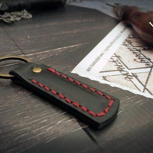 personalisierte Schlüsselanhänger Leder rot