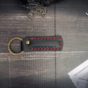 Schlüsselanhänger Leder schwarz personalisiert