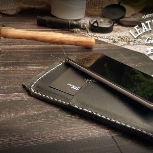 edle schwarze Handyhülle aus Top Leder
