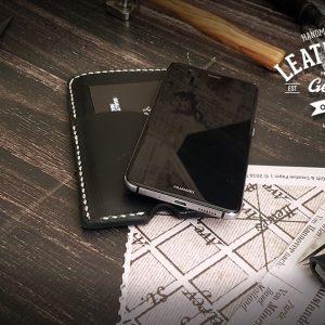 edle schwarze Handyhülle aus Leder